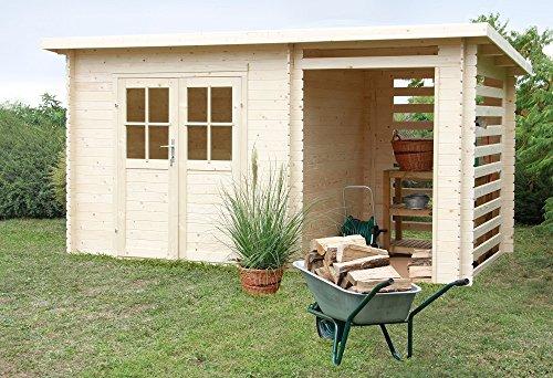 Casetta giardino ERIKA con PORTICATO legno nordico GARTENPRO 248x218x198/213H