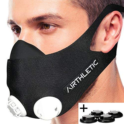 AIRTHLETIC® ademmasker trainingsmasker met 12 ventieldoppen [6 zwart & 6 wit] en hoofdriem voor extra grip - Duits merk