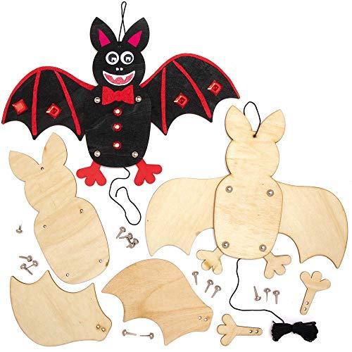 Baker Ross AX195 Halloween Fledermaus Puppen aus Holz Bastelset für Kinder - 4 Stück, Kreative Künstler- und Bastelbedarf zum Basteln und Dekorieren zur Winterzeit