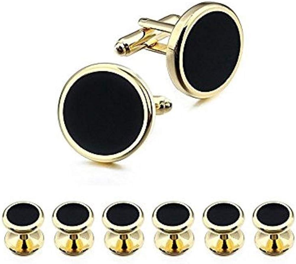 Ducomi - Conjunto de Gemelos y 6 Botones de Camisa para Hombres - Accesorio Elegante Ideal para Reuniones de Negocios y Ocasiones Especiales