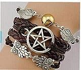 Heall Pulsera, alas del ángel, ala, búhos, Pagan y Wicca, Dean Winchester, Supernatural, Pulsera de la Estrella, Amistad, Dama de GIF (Brown) por el Accesorio de la joyería