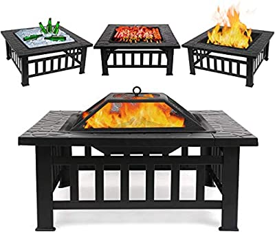 """FIXKIT Fire Pit Table Outdoor with BBQ Grill Shelf, Multifunctional Garden Terrace Fire Bowl Heater/BBQ/Ice Pit, 32"""" Diameter Square Fireplace with Waterproof Cover from FIXKIT"""