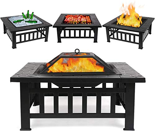 FIXKIT Outdoor Fire Pit Table with Grill, Metal Square Firepits for Outside Backyard Garden Patio Stove Bonfire Heater/BBQ/Cooler, 32in Wood Burning Fireplace with Spark Screen, Waterproof Cover