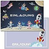Invitaciones de cumpleaños infantiles con diseño de cohetes, nave espacial, 12 unidades, invitaciones de cumpleaños para niños y niñas (con sobres)