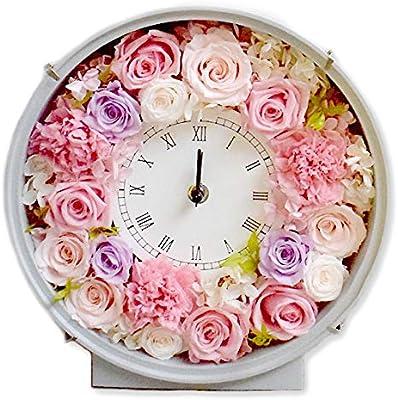 誕生日 プリザーブドフラワー 時計プリザ 『ハッピーデイズ』 ブリザードフラワー ブリザーブドフラワー (ピンク)