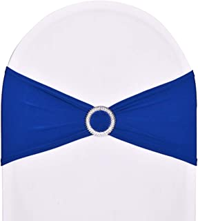 Pack of 50 Stretch Spandex Chair Sashes for Wedding Party Banquet Decoration Elastic Bulk Chair Cover with Buckle Engagement Event Birthday Graduation Meeting Royal Blue