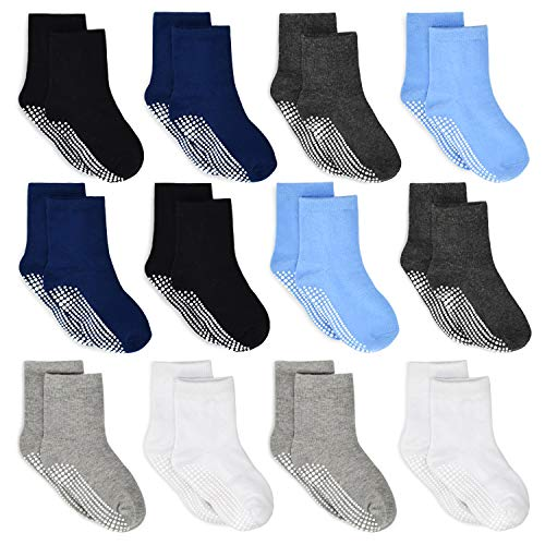 HYCLES ABS Socken Kinder - 12 Paar Baby Jungen Kleinkind Rutschfeste Socken für 3-5 Jahre Schwarz+Marine+Weiß+Dunkelgrau+Hellgrau+Blau