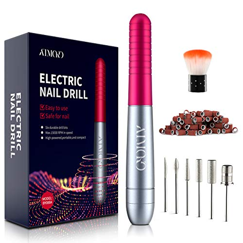 Electric Nail Files, ATMOKO Professional Electric Nail Drill Kit For Acrylic Nails Gel Nails, Portable Adjustable Speed Manicure Pedicure Polishing Machine with 6Pcs Nail Drill Bits, For Women & Girls