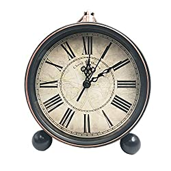 JUSTUP 5.2 Classic Retro Clock, European Style Vintage Silent Desk Alarm Clock Non Ticking Quartz Movement Battery Operated, HD Glass Lens, Easy to Read (SZ03)