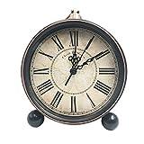Saytay Classic Retro Desk Clock, European Style Vintage Silent Desk Alarm Clock Home Decorative Clock Non Ticking Quartz Movement Battery Operated HD Glass Lens, Easy to Read (Roman No Black)