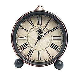 JUSTUP 5.2 Classic Retro Clock, European Style Vintage Silent Desk Alarm Clock Non Ticking Quartz Movement Battery Operated, HD Glass Lens, Easy to Read (SZ03)
