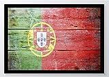 Flagge Holz Portugal Kunstdruck Poster -ungerahmt- Bild DIN