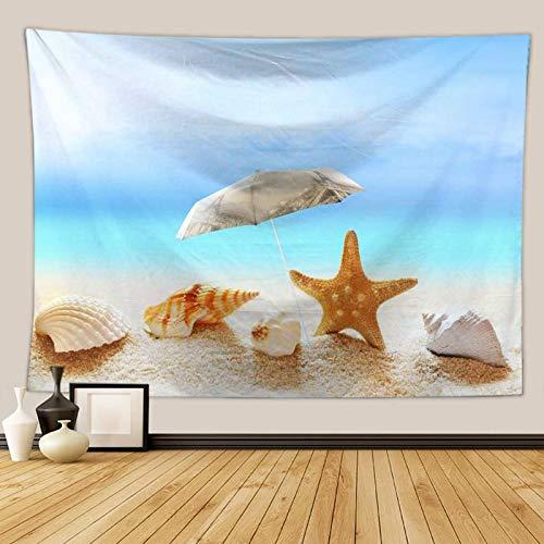 AYDOME Polyester Wandteppich Psychedelic Hippie Regenschirm Seestern Kokospalme Strand Wandteppich Blau Braun Wanddeko Für Esszimmer 180×230CM