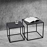 [en.casa] Set de 2X Mesa Auxiliar Mesas Bajas Mesa de Noche Mesa de Centro Estructura de Metal Mesa de té Mesa de Café Negro