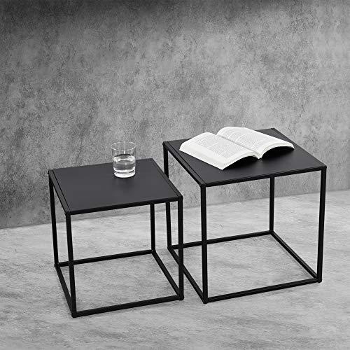 Lot de 2 Tables Basses de Forme Carré en Métal Anti-Éraillures de 35 cm et 40 cm Noires Mat