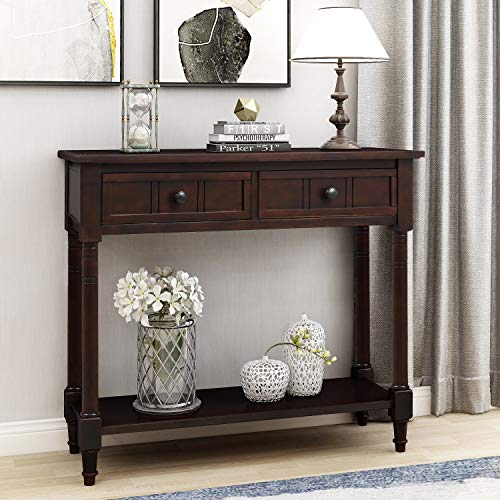 Knocbel 35.5 Inch Antique Entry Console Table with Drawers & Bottom Open Shelf, Solid Wood Sofa Couch Table for Entryway Hallway Living Room (Espresso)