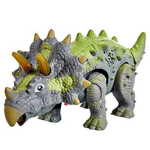 HERSITY Dinosaurio Triceratops de Juguete con Luces y Sonidos Caminando Modelo de Dinosaurio Regalos para Niños