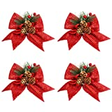 BELLE VOUS Christmas Tree Bows (4 Pack) - (15x17cm) Red Christmas Bows with Red Berries & Pine Cone for Christmas Tree Decoration Tree Topper Garland Wreath Decorating Supplies Gifts Xmas Door Bow