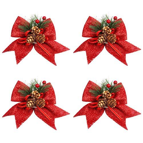 BELLE VOUS Weihnachtsschleifen (4 STK) - 15 x 17cm Schleifen Weihnachtsbaum Rot mit Roten Beeren & Tannenzapfen Weihnachten Weihnachtsdeko, Baumschmuck, Weihnachtsschmuck, Adventskranz, Zierschleifen