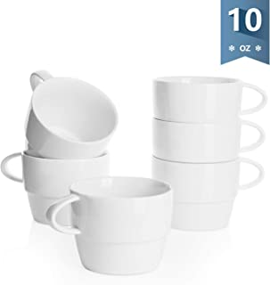 Sweese 407.001 Porcelain Latte Cups – Stackable Coffee Cups – 10 Ounce for..