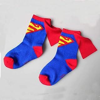ZHANGNUO, Calcetines De Algodón para Niños, Niñas, Verano, Calcetines Finos Y Transpirables De Dibujos Animados Superman Spiderman Batman, Calcetines para Bebés De 3 a 6 Años