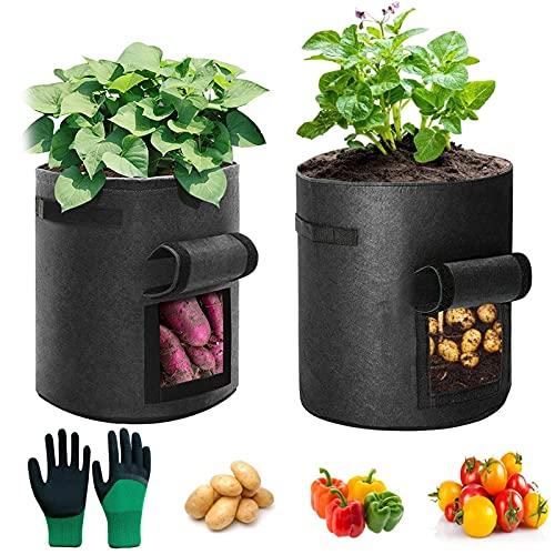 2 Stück Kartoffel Pflanzsack,Pflanzen Tasche mit Griffen,Blumen Pflanzbeutel,Pflanzen Tasche Pflanzbeutel,Stoff Töpfe,Vliesstoff Pflanzbeutel,Gallonen Pflanzen Tasche,Kartoffelanbaubeutel