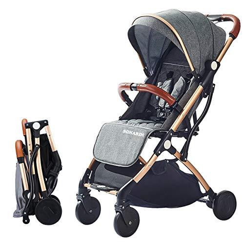SONARIN Leicht Kinderwagen,kompakt Reise Buggy,einhändig faltbar,Fünf Punkt Gurt,ideal für Flugzeug(Dunkelgrau)