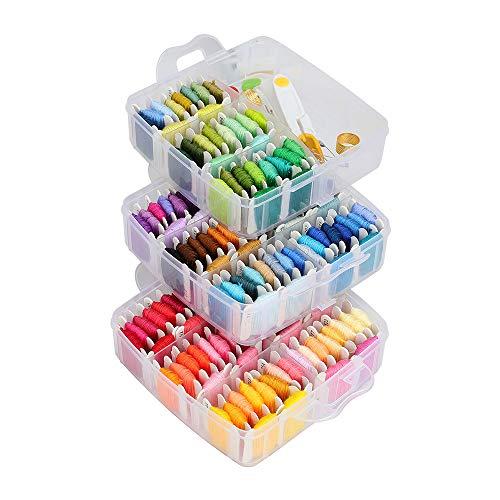 Stickerei Set, Kreuzstich Stickerei Starter kit , Stickerei Kreuzstich Tool Kit, Einschließlich 150-Farben-Fäden, 30 Nähstifte,Dreischichtiges Box-Strickwerkzeug