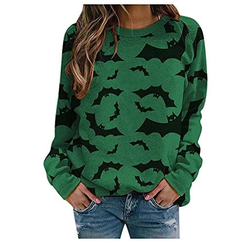 Halloween Sweatshirts for Women, Women's Halloween Cat Graphic Crewneck Pullover Sweatshirts Long Sleeve Sweaters Tops