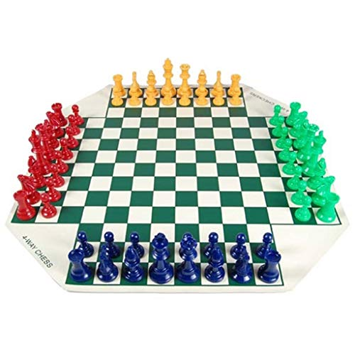 LOFAMI Juego de Tablero de Juego de ajedrez de Viaje Junta de ajedrez de Cuero Ajedrez de Cuatro Jugadores Chess Portable Juego de ajedrez Popular Juego de ajedrez para Principiantes para niños y a