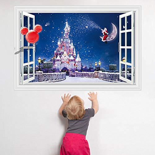 Decors Girlsredhappy60*90Cm Kerstmis Sneeuwvlok Sterren Droom Kasteel 3D Nep Venster Muursticker Bank Achtergrond Decoratieve Muursticker
