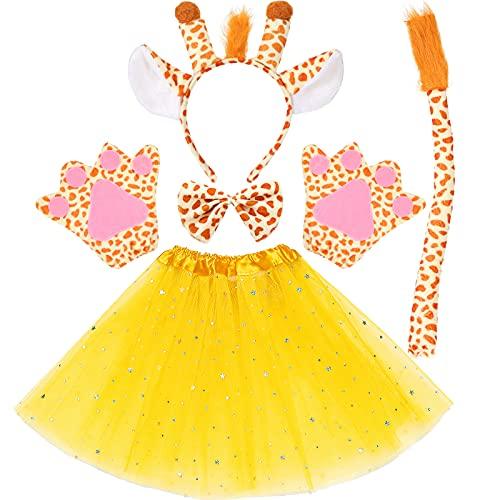 Juego de 6 piezas de disfraz de jirafa, incluye orejas de jirafa, diadema, pajarita, guantes de tul en capas amarillas, falda de tutú para niños y niñas, disfraz de animales