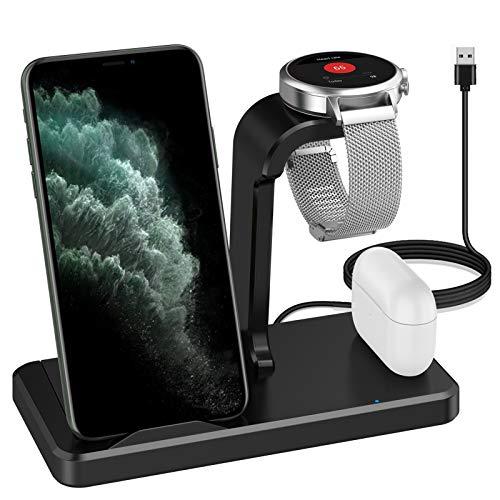 Aimtel Cargador inalámbrico 3 en 1, soporte de carga inalámbrico compatible con Fossil Gen 4/Gen 5/Gen 5E Charger, para Galaxy S20/S10/Note 20/10 y iPhone 12/11 Qi-enable Phone, AirPods Pro/AirPods 2