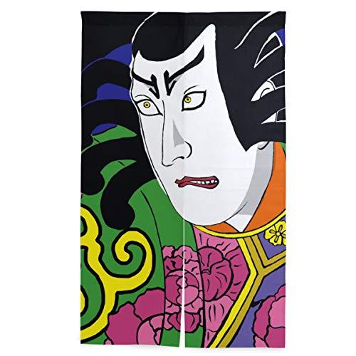 ELIENONO Doorway Japanischer Vorhang,Kabuki Traditionelle Kunst,Wandteppich mit Trennwandsystem, 56.3