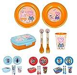 Vajilla infantil de 6 piezas de Peppa Pig para niños y niñas. Contiene plato, vaso, tenedor, cuchillo, cuenco y sandwichera (Peppa Pig (Kindness counts) - 6pcs)
