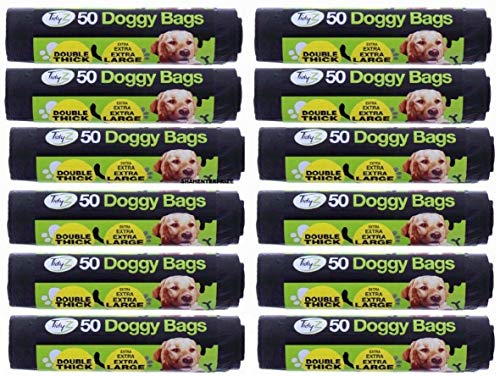 600 Extra Strong TidyZ Black Doggy Waste Bags With Tie Handle 32cm x 38cm 1