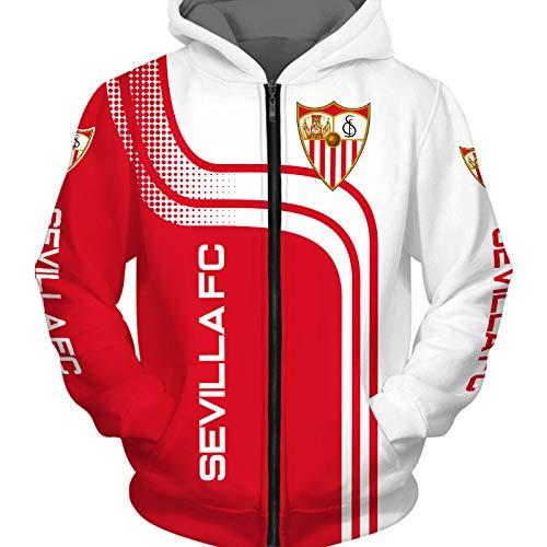 THEBEST BIst Hombres Hoodies Chaqueta por Sevilla-Fc 3D Impresión Fútbol-Club-Fan Suéteres/Zip Sweatshirts Tops Teenager / B1 / M