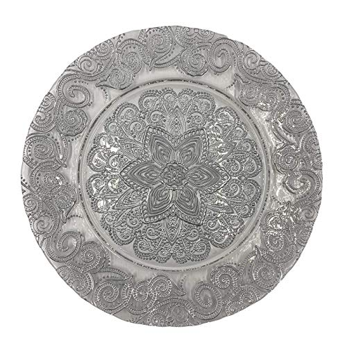 Urquid Linen, Henna Glass 13' Charger Plate, Set Of 4, Use for Elegant Wedding Décor, Luxe Dinner Parties and Special Events, and Any Elegant Occassion (Silver)
