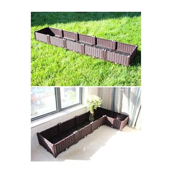 Baoyouni Rectangular Raised Garden Bed Kit Indoor Outdoor Plastic Planter Grow Box For Fresh Vegetables Herbs Flowers Succulents Brown Mk Library