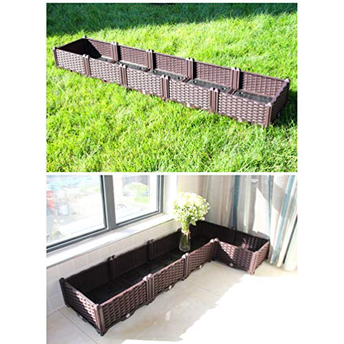 BAOYOUNI Rectangular Raised Garden Bed Kit Indoor Outdoor Plastic Planter Grow Box for Fresh Vegetables, Herbs, Flowers & Succulents, Brown, 76.77'' x 15.35'' x 14.96''
