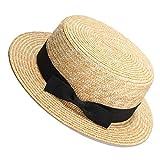 GUILIAN Gorra Nuevo Sol Sombreros Natural Trigo Paja Boater Top Hat Mujeres Verano Playa Flat Brim Cap Bowknot Cinta para Vacaciones Sombreros De Sol