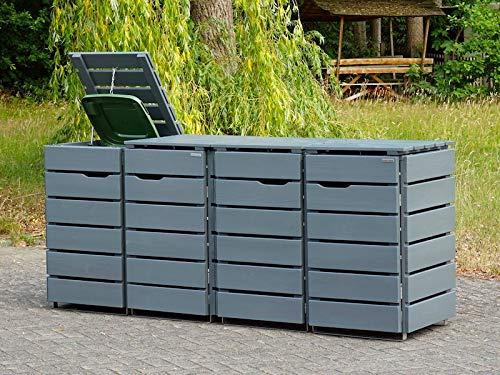 4er Mülltonnenbox / Mülltonnenverkleidung 120 L Holz, Deckend Geölt Lichtgrau - 2