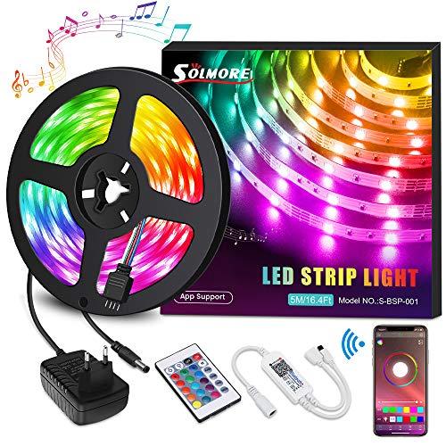 LED Streifen 5M, RGB LED Strip steuerbar via App, Led Bänder 16 Millionen Farben, Sync mit Musik, 5050SMD 150LEDs Lichtband mit Fernbedienung und Netzteil, LED Lichterkette für Deko Halloween, SOLMORE