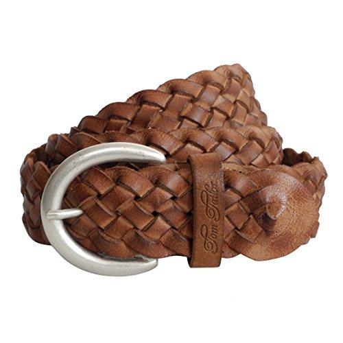Damen-Gürtel Leder geflochten von Tom Tailor - Damenledergürtel aus echt Leder mit Metall Dornschließe (Beige 95cm) - präsentiert von ZMOKA®