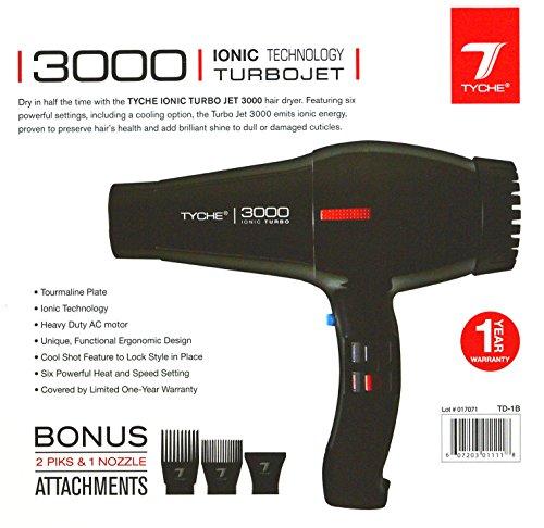 Tyche Professional Hair Dryer Turbo Jet 3000 Black (1 Year Warranty)
