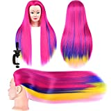 Synthetic Hair Mannequin Head Hair Styling Training Head Manikin Cosmetology Doll Head Long Hair Mannequin Head Hairdresser Practice Head for Braiding Mannequin Head Hair Model Head