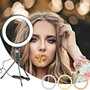 """MOUNTDOG 6"""" Selfie LED Ring Light with Stand Circle Lighting Remote Control for Make-up/YouTube Video/Live Streaming Dimmable 3 Light Modes Mini Desktop"""