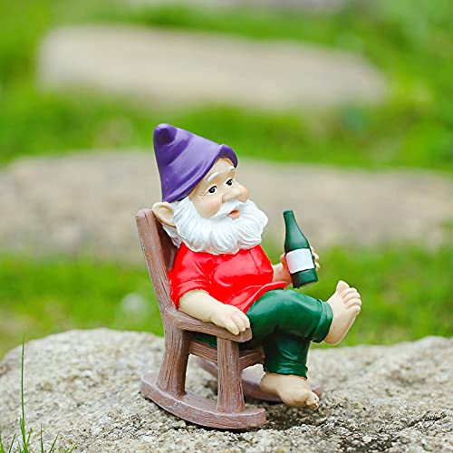 Garden Gnome Statue Outdoor Decoration Resin Gnome Sculpture Rocking Chair 6.3 ' Tall
