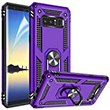 Galaxy Note 8 Case with HD Screen Protector, Gritup 360 Degree Rotating Metal Ring Holder Kickstand Armor Bracket Cover Phone Case for Samsung Galaxy Note 8 Purple