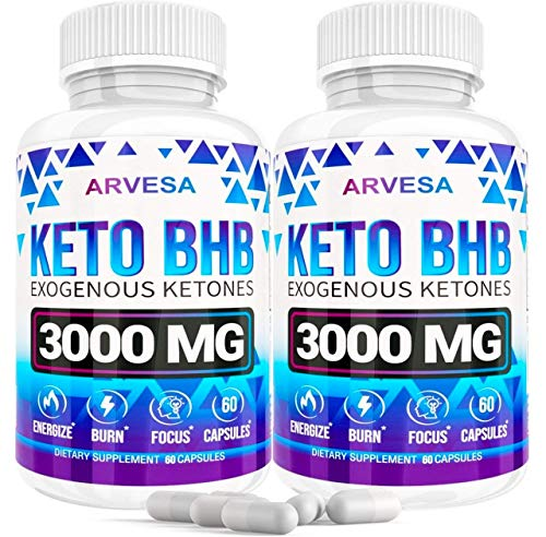 Keto Diet Pills - 5X Dose (2 pack | 3000mg Keto BHB) - Best Weight Loss Exogenous Ketones Supplement for Women and Men - Boost Energy & Focus, Support Metabolism - Made in USA - 120 Capsules